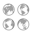 earth globe logo dotted world map icon set vector image vector image