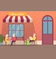 european street cafe elderly travellers drink vector image