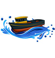 fishing boat in wave vector image
