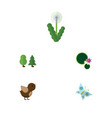 flat icon ecology set of floral bird lotus and vector image vector image