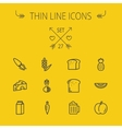 Food thin line icon set vector image vector image