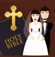 Get married couple bible card invitation vector image