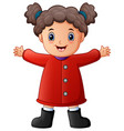 happy little girl in red winter clothes vector image vector image