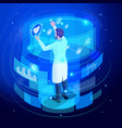 isometric doctor working virtual screen back view vector image