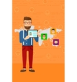 Man holding tablet computer with social media vector image vector image