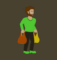 man on shopping with packages vector image vector image