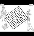 maze activity game with young couple vector image vector image