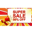 Megaphone with SUPER SALE 50 PERCENT OFF vector image vector image
