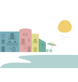 multicolored houses next to beach tables and vector image