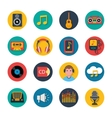 Music icons set mobile round solid vector image vector image