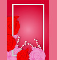 paper art style of rose flowers and frame on pink vector image vector image