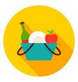 picnic basket circle icon vector image vector image