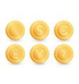 set gold coins dollar euro yen pound rupee vector image