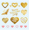 set of golden hearts for wedding decorations or vector image vector image