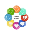 Set of heart icons vector image vector image