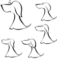 Set of silhouettes of puppy vector image