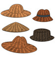 set of straw hat vector image vector image