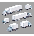 Set of the white low poly trucks