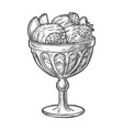 sketch ice cream scoops in glass sundae bowl cup vector image vector image