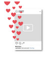 social network photo frame mobile template hearts vector image