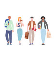 students walking holding books and backpacks vector image