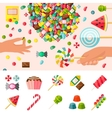 Sweet Candy Flat Composition vector image