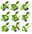 swoosh green alphabet logo set1 vector image