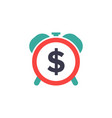 time dollar icon - time for money - flat vector image vector image