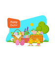 two chicks frolic have fun next to easter basket vector image vector image