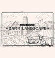 vintage barn landscape and farm animals lamb and vector image