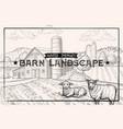 vintage barn landscape and farm animals lamb vector image vector image