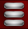 white oval glass buttons on red metal perforated vector image vector image