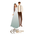 young couple newlyweds wearing wedding clothes vector image vector image