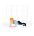 young fit woman doing plank exercise core workout vector image vector image