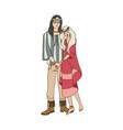 young man and woman with long hair dressed in vector image vector image