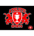 3D Athletic sports red emblem on black background vector image vector image