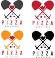 adventure pizza concept labels design set vector image