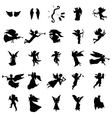 Angel silhouettes set vector image vector image