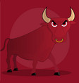 angry cartoon bull on red background vector image