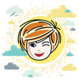 beautiful red-haired happy girl face positive vector image