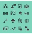 Big Data analysis black icons set data vector image vector image