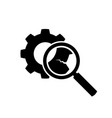 broken gear wheel cog body with zoom glass vector image vector image