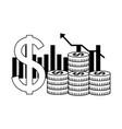 business dollar coins money chart bar vector image vector image
