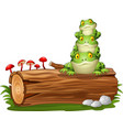 cartoon frog stacked on tree log vector image