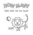 cartoon lion counting game coloring book vector image