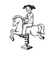 child on rocking horse engraving vector image