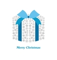 christmas gift box with white snowflake vector image
