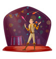 circus with juggler throwing balls and skittles vector image
