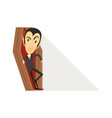 count dracula vampire in black suit in coffin vector image