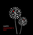 couple dandelion with red hearts happy vector image